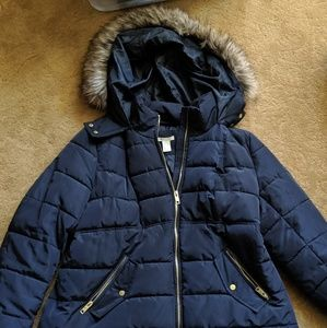 H&M Maternity Puffer Jacket. Dark Blue. Large